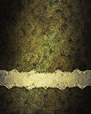 Deep gold structure with decoration of ribbon shabby. Element for design. Template for design. copy space for ad brochure or annou Royalty Free Stock Photography
