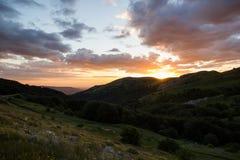 Deep Golden Sunset Crimean Peninsula Stock Photo