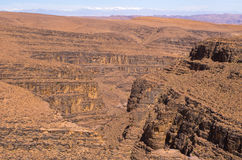 Deep gorge on Moroccan desert Royalty Free Stock Photography