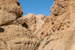 A deep gorge among the rocks in the desert. Deep gorge among the rocks in the desert against the blue cloudless sky Royalty Free Stock Photos