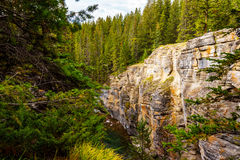The Deep Gorges of the Maligne Canyon. Over the centuries the Maligne River carved out the Maligne Canyon in Jasper National Park in the Canadian Rockies Royalty Free Stock Photography