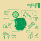 Deep green, green juice recipes great  detoxify. Design Royalty Free Stock Images
