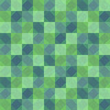 Deep green patchwork seamless background with squares and rhombuses Stock Image