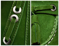 Deep green suede background. Set of two backgrounds, close-up of deep green suede shoe Stock Photography