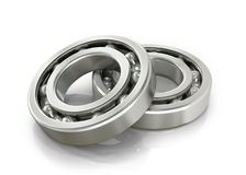 Deep groove ball bearings isolated white fonom. Royalty Free Stock Photo