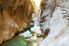Deep Harmony Canyon in Turkey. Near Goynuk and tourists Stock Photos