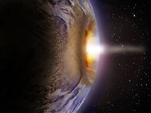 Deep Impact. The Earth receiving a bright impact of a comet or a meteor Royalty Free Stock Image