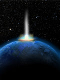 Deep Impact. The Earth receiving a bright impact of a comet or a meteor Stock Image