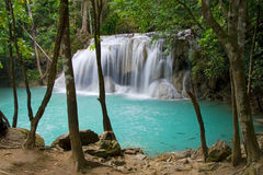 Deep in the Jungle. Tranquil place by the waterfall in Kanchanaburi province, Thailand Royalty Free Stock Photography