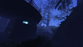 Deep jungle outpost. 3D rendered illustration of sci-fi outpost in deep jungle Stock Images