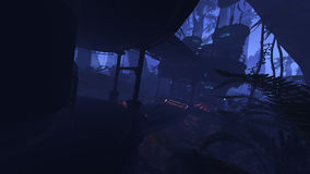 Deep jungle outpost. 3D rendered illustration of sci-fi outpost in deep jungle Stock Photography