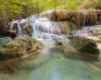 Deep jungle Waterfall in National Park Kanjanaburi Thailand Royalty Free Stock Images