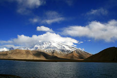 Deep Lake and Snow Covered Mountain. Deep blue Calm Lake and Snow Covered Muzitaga Mountain in pamirs, china Royalty Free Stock Image