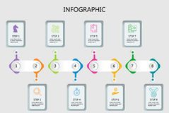 Deep line minimal Infographic design template stock illustration