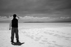 Deep Look. Salt lake beach. Taken Salt lake Konya Turkey. Sky a bit different to coloured version stock photo