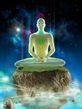 Deep meditation. Man meditating in an imaginary landscape. Chakra points visible on his body. Digital illustration Stock Photos