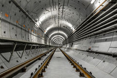 Deep metro tunnel Royalty Free Stock Photo