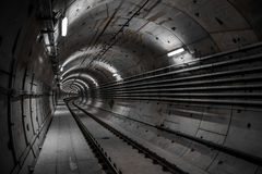 Deep metro tunnel. Under construction royalty free stock photos