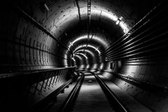 Deep metro tunnel Royalty Free Stock Photography
