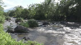 The deep mountain river after a tropical rain, Amazing riverscape with dense exotic forest growing on rocky riverbank