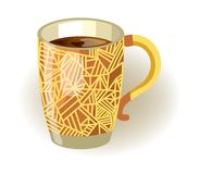 Deep mug with pattern of lines full of black tea Stock Photo