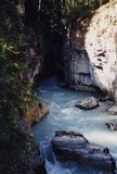 Maligne Canyon - Canadian Geologic Wonder. Deep and narrow Maligne Canyon is a geologic wonder near Jasper, Alberta in Canada Stock Photo
