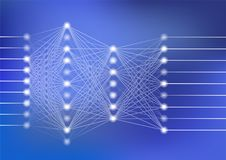 Deep neural network vector illustration with dark blue background for artificial intelligence stock illustration