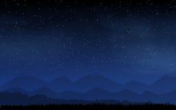 Deep night sky with many stars and moon Royalty Free Stock Photo