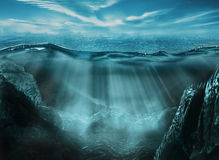 Deep ocean. Beautiful deep ocean landscape with rays of light Royalty Free Stock Image