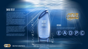 Deep ocean Shower gel or Aqua Moisturizing Lotion cosmetic ads template. Refreshing skin toner. Mockup 3D Realistic. Splash water drops over blue background Stock Images
