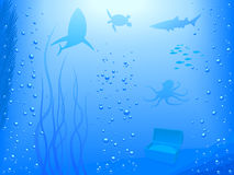 Deep Ocean (Vector). Shadows of animals and plants inside of the ocean. The layers of EPS file are named to easy access and edition royalty free illustration