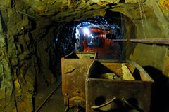 Old Uranium mine. Deep in the old uranium mine, the city of Jachymov in the Czech Republic Stock Images