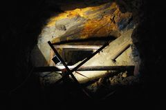 Caving in uranium mine. Deep in the old uranium mine, the city of Jachymov in the Czech Republic stock photo