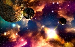 Journey through fantastic worlds in far cosmic space royalty free stock images