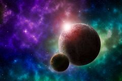 Deep outer space landscape with planets and nebula stock illustration