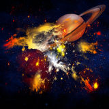 Deep outer space with Saturn Royalty Free Stock Photo