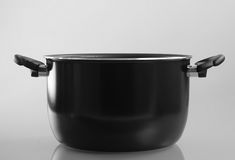 Deep pan with handles. Front view Stock Photos