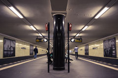 Deep perspective of a Berlin metro station Stock Photos