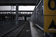 Deep perspective of rails at a tram station stock photo