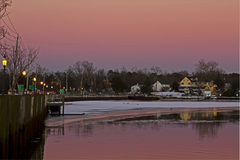 Deep Pink Sunset In Small Harbor Royalty Free Stock Image