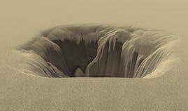 Deep pit in the desert 3d rendering Stock Photos