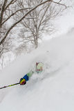 Deep powder skiing in Japan Stock Photo