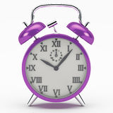 Deep Purple alarm clock. The alarm clock as a symbol of the rush of the modern world Royalty Free Stock Images