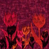 Deep purple background with tulip flowers. stock image