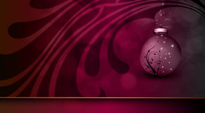 Deep Purple Christmas Greeting with Floral Globe Royalty Free Stock Image