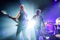 Deep Purple führt am Stadium während ihres Konzerts in Minsk, Weißrussland am 27. März 2011 durch Lizenzfreies Stockfoto