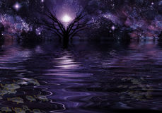 Deep Purple Fantasy. Landscape filled with stars Stock Images