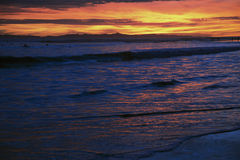 Deep purple and orange sunset looking towards Anacapa Island, Ventura, California, USA Royalty Free Stock Photography