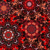 Deep purple seamless pattern with eastern floral ornament. Floral oriental design in aztec, turkish, pakistan, indian Royalty Free Stock Image
