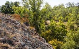 Deep quarry and river Stock Photos